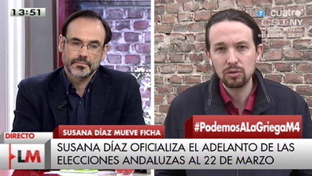 """Pablo Iglesias: """"Los andaluces no están interesados en votar para elegir al próximo secretario general del PSOE"""""""