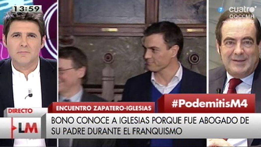 """Bono: """"A P. Iglesias le tengo aprecio pero mi voto y mi amistad están con Pedro Sánchez"""""""