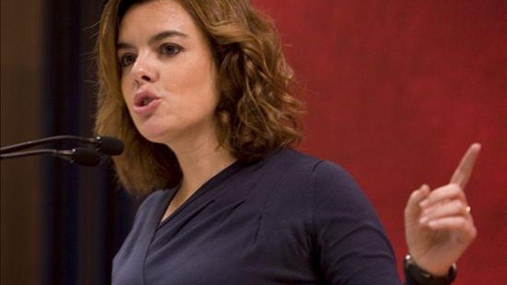 La portavoz del PP en el Congreso de los Diputados, Soraya Sáez de Santamaría. EFE/Archivo