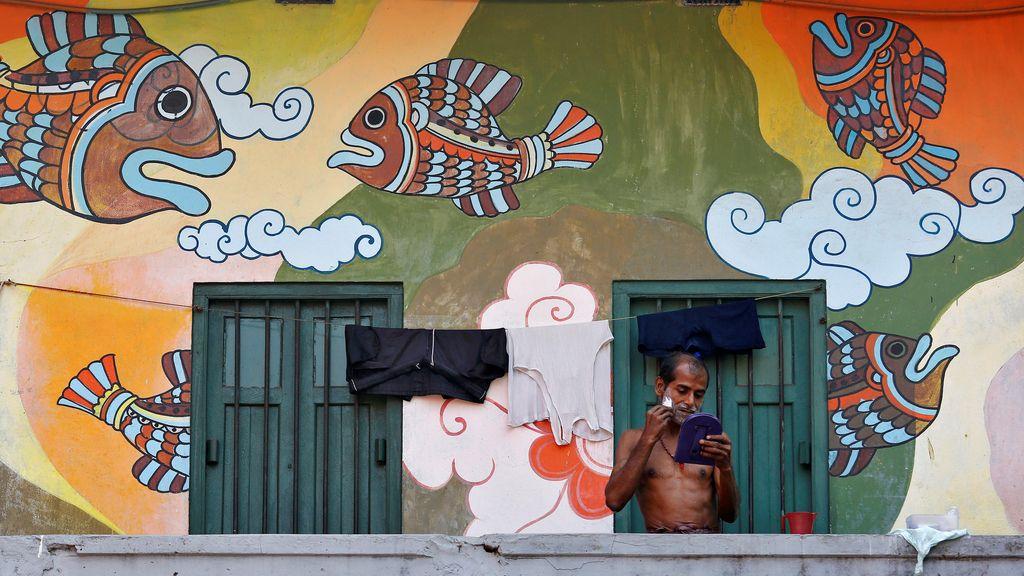 Murales en fachadas en la India