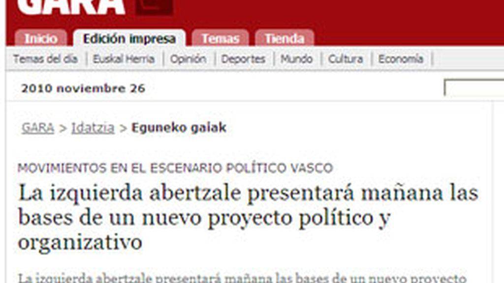 Gara anuncia que la izqueirda abertzale se comprometerá sólo con vías pacíficas y políticas. Foto: Gara.