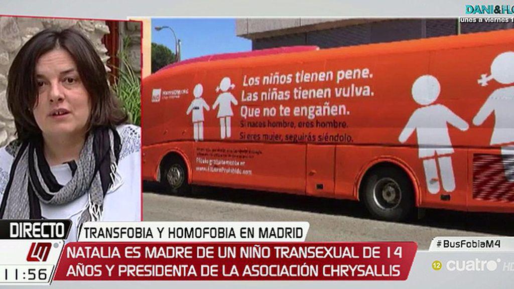 """Natalia Aventín, del autobús con un mensaje contra la transexualidad: """"Nuestros hijos están ahí, por mucho cartel que pongan"""""""