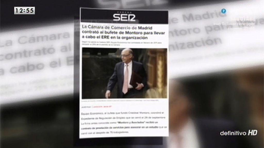 La Cámara de Comercio de Madrid contrató el bufete de Montoro para llevar a cabo el ERE en la organización, según la Cadena Ser