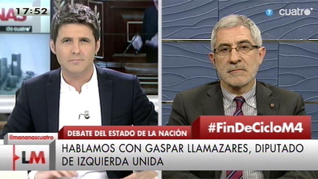 """Llamazares, de Rajoy y Sánchez: """"Es un retrato en sepia del bipartidismo agonizante"""""""