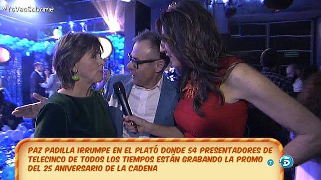¡Paz se cuela en el plató donde están todos los presentadores de Mediaset España!
