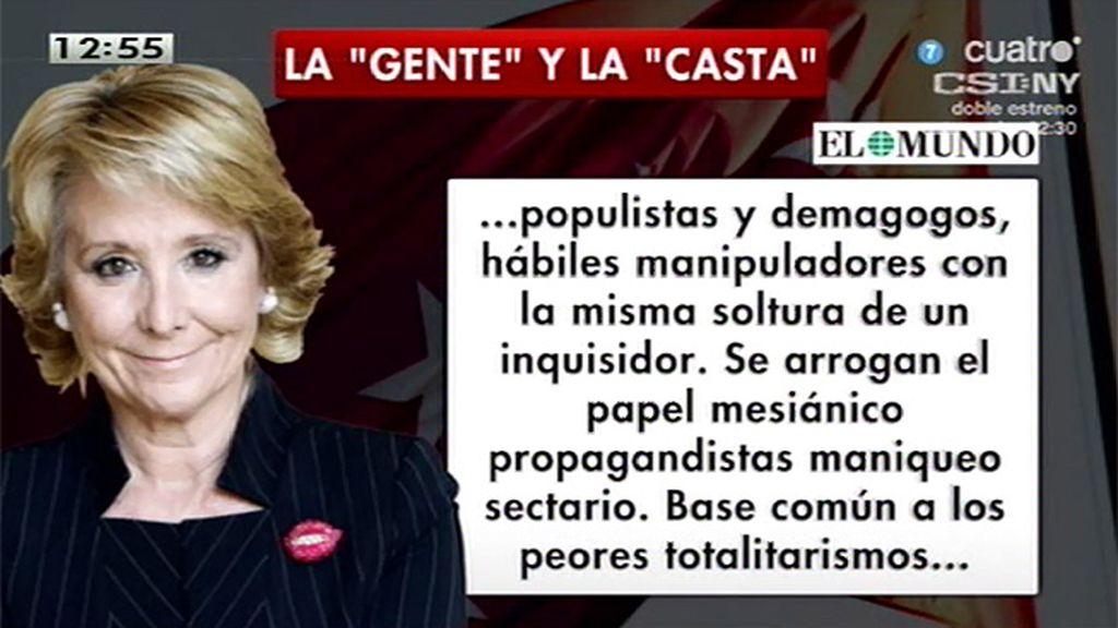 """Aguirre: """"Un gobierno de Podemos impediría ese cambio por el procedimiento de acabar con todos los contrapoderes"""""""