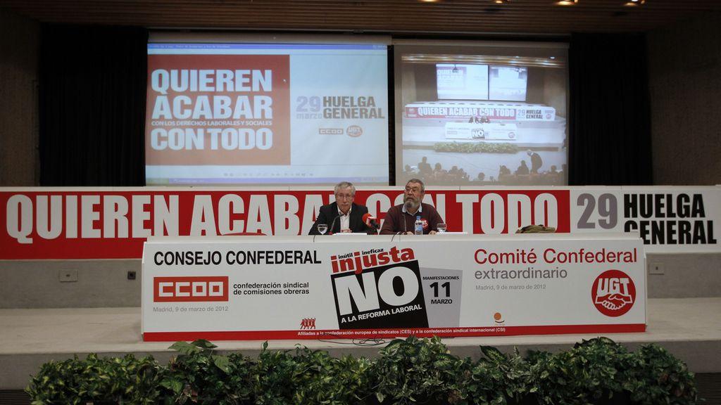 Ignacio Fernández Toxo y Cándido Méndez anuncian la convocatoria de una huelga general para el 29 de marzo