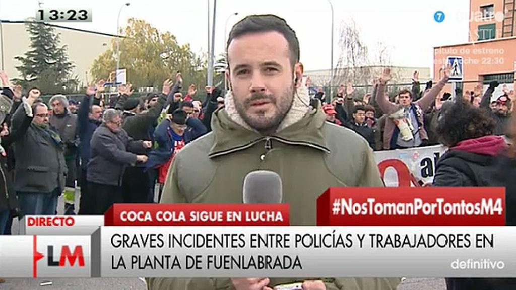Incidentes entre policías y trabajadores en la planta de Coca Cola en Fuenlabrada