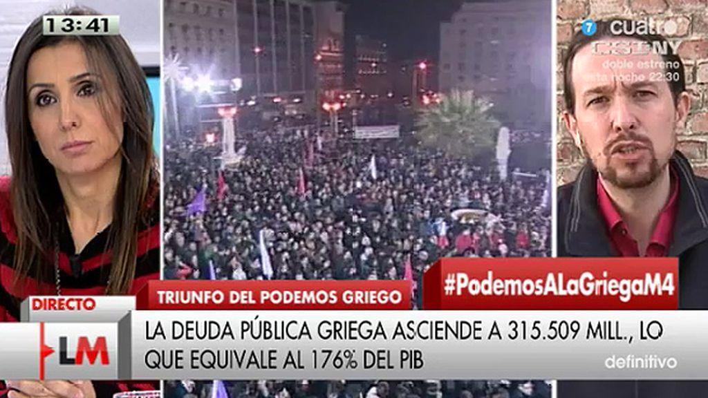 """Iglesias, tras las elecciones griegas: """"Estamos contentos, pero en España la historia la tendrán que hacer los españoles"""""""