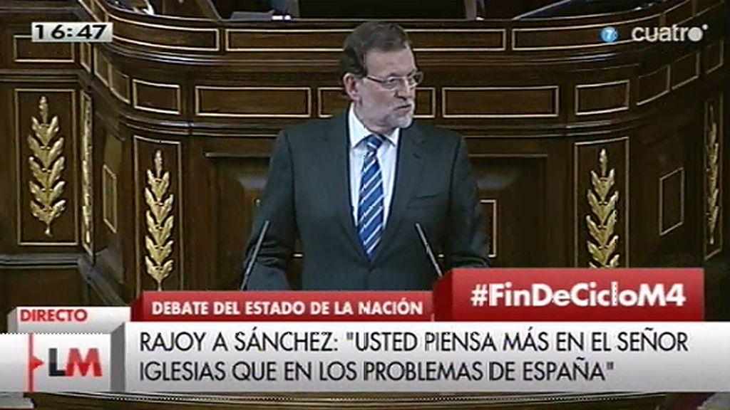 """Mariano Rajoy, a Pedro Sánchez: """"Es el secretario general del PSOE, debería tener más nivel en sus intervenciones"""""""