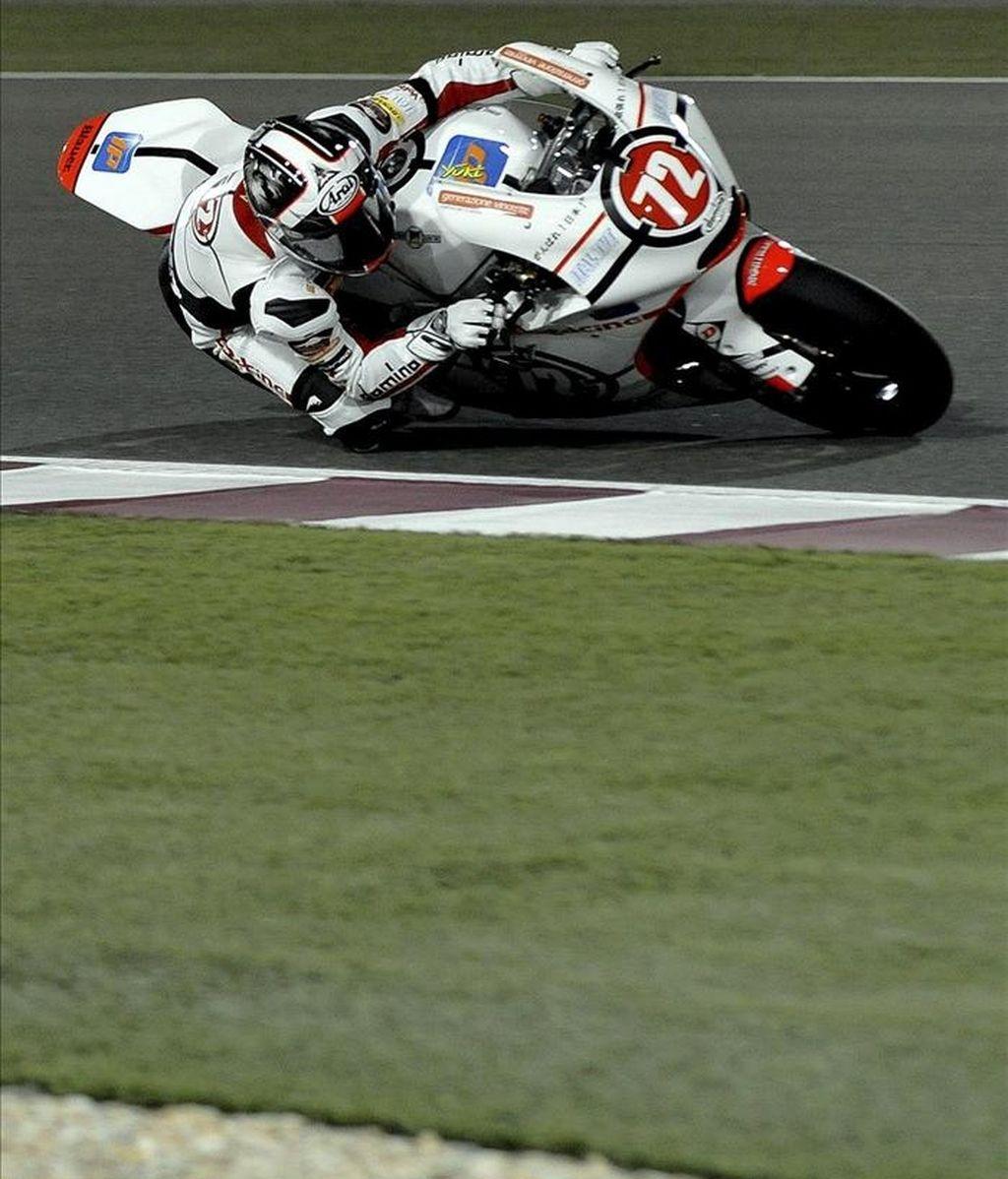 El piloto japonés de Moto2 Yuki Takahashi en el circuito de Doha, Catar. EFE
