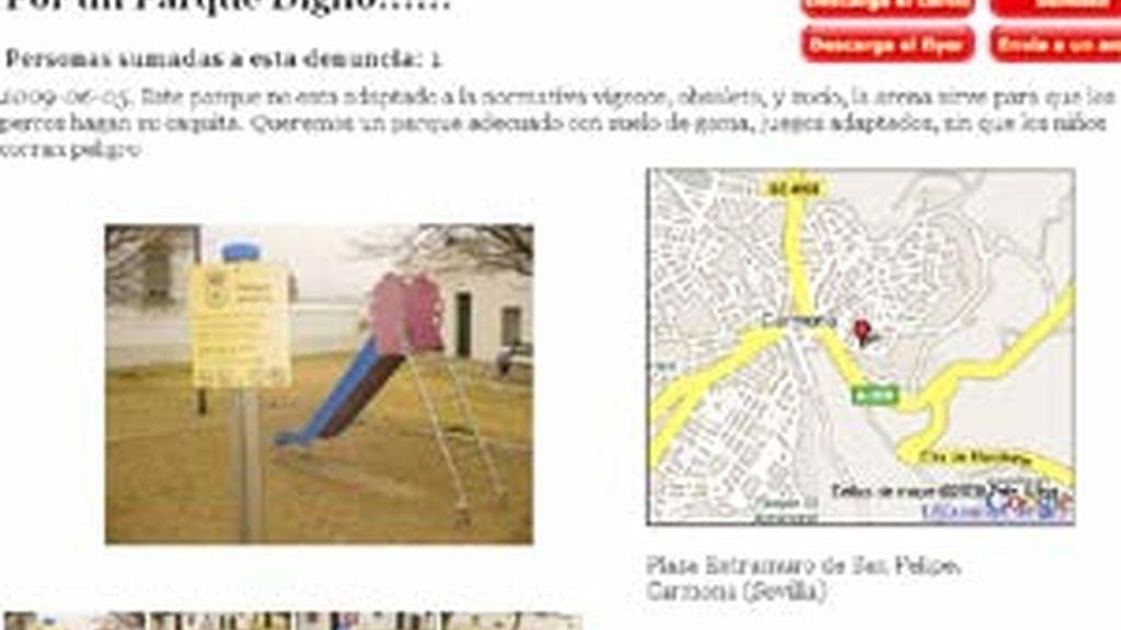 En la denuncia se detallan las quejas sobre el parque y se pueden adjuntar fotos sobre estos. Vídeo:Informativos Telecinco