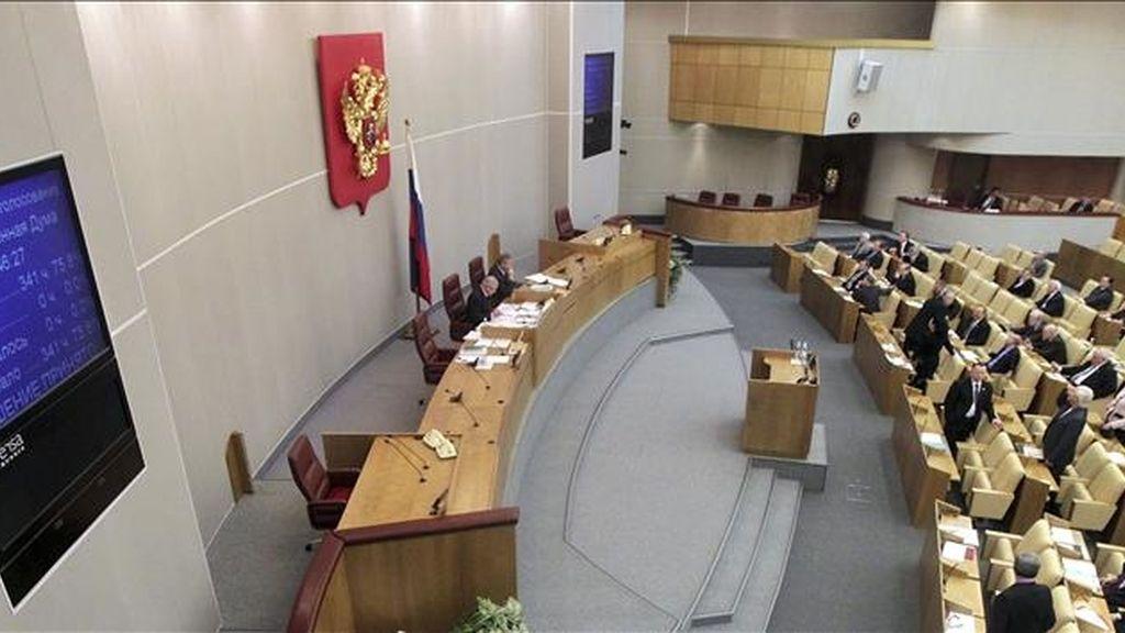 Los diputados votan las enmiendas del texto original del tratado de desarme nuclear START en Moscú (Rusia) hoy, viernes, en la Duma rusa o congreso de diputados. El tratado fue aprobado en primera lectura por la Duma el pasado 24 de diciembre con el apoyo de 350 diputados, mientras que 58 votaron en contra. EFE