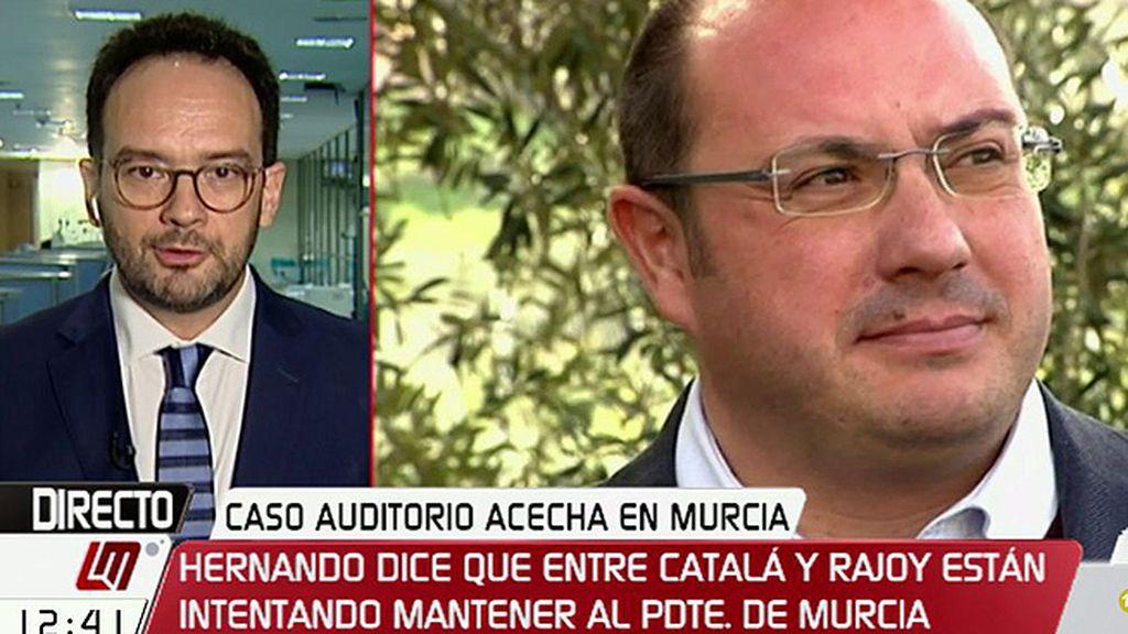 """A. Hernando: """"El ministro de Justicia y el presidente están intentando soportar a Pedro Antonio Sánchez como pueden"""""""