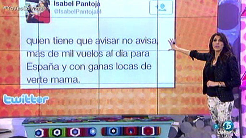 """Chabelita, en Twitter: """"Quien tiene que avisar no avisa, más de mil vuelos al día..."""""""