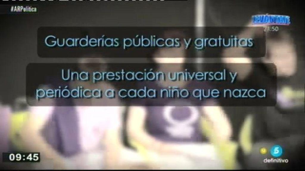 Guardería públicas gratuitas, prestación para cada niño... Estas son las medidas del plan de igualdad de Podemos