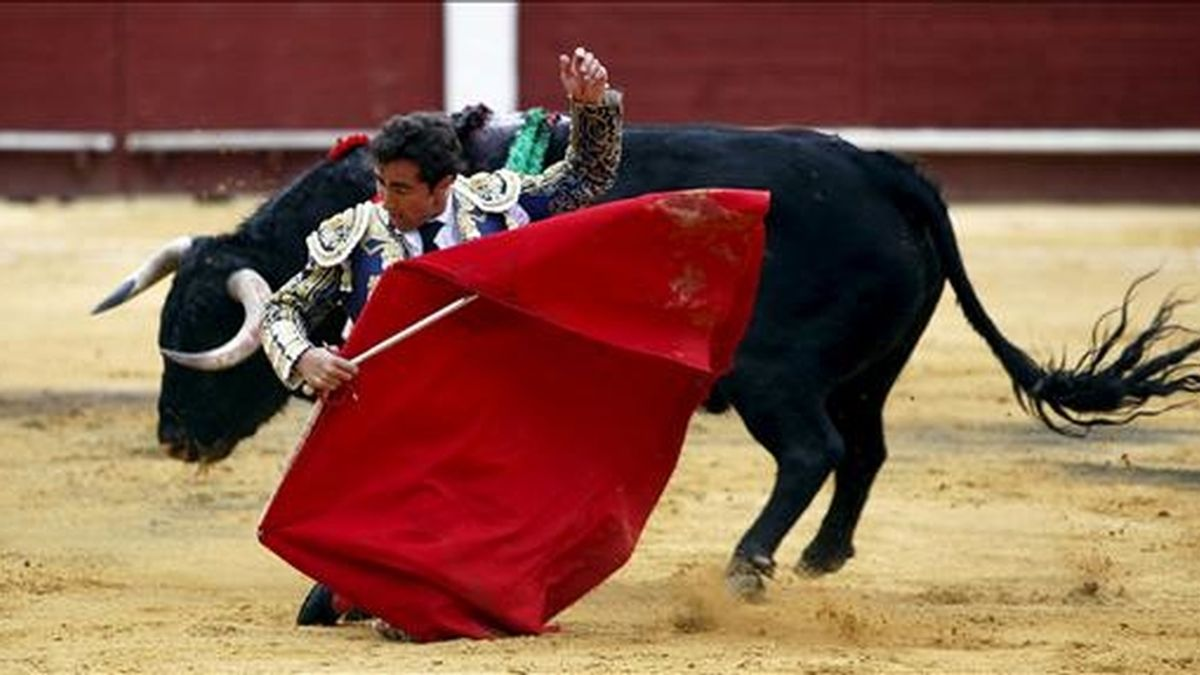 """El torero David Fandila """"El Fandi"""" da un muletazo de rodillas a su morlaco. EFE/Archivo"""