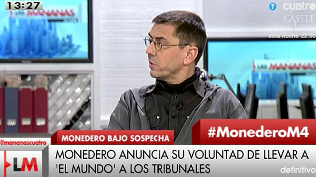 """J.C. Monedero: """"Mi voluntad a día de hoy es llevar a 'El Mundo' a los tribunales"""""""