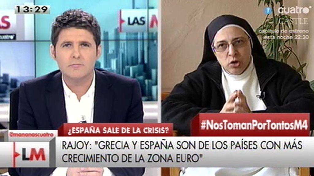 """Sor Lucía, a Rajoy: """"Es imposible que un crucero lleno de agujeros tenga estabilidad"""""""
