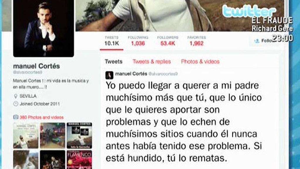 Manuel Cortés se desahoga en Twitter y arremente contra Carmen Gahona