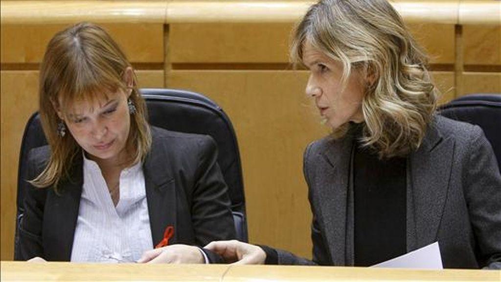 Las ministras, de Sanidad, Política Social e Igualdad, Leire Pajín (i), y de Ciencia e Innovación, Cristina Garmendia (d), durante la sesión de control al Gobierno, esta tarde en el Senado. EFE