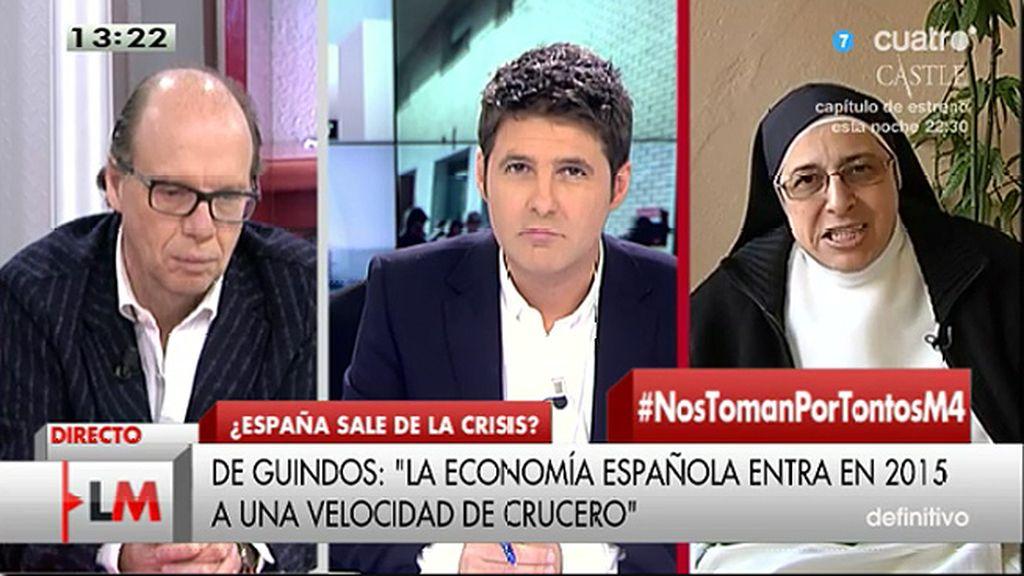 """J. González, a Sor Lucía: """"Todo lo que no sea de izquierdas lo dibuja con cuernos y rabo"""""""