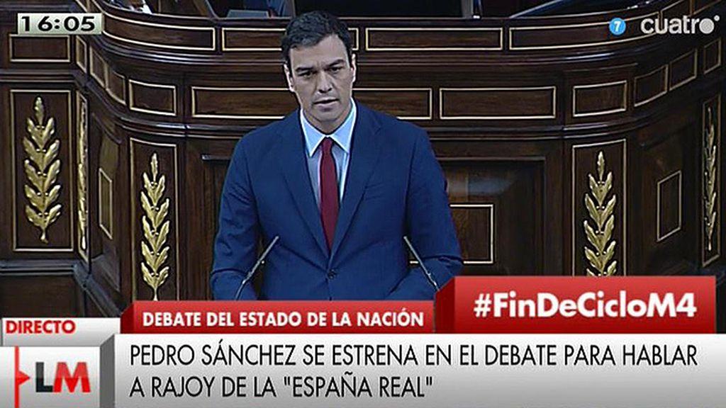 """Pedro Sánchez, a Mariano Rajoy: """"Pasará a la historia por tres conceptos: Precariedad, impuestos y Bárcenas"""""""