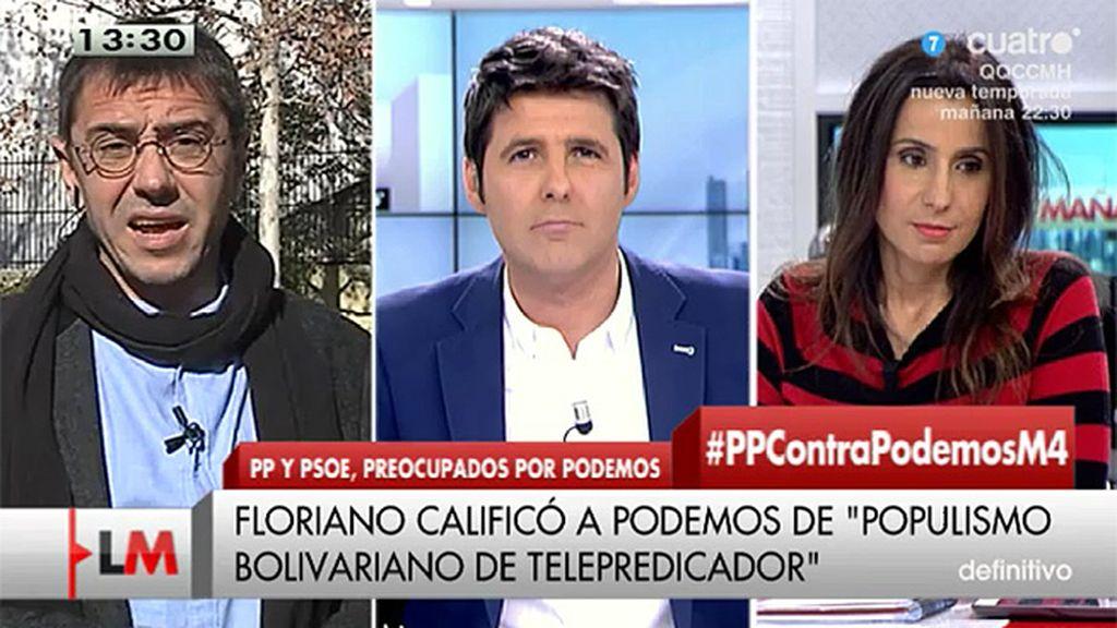 """Juan Carlos Monedero: """"El PP está a la desesperada sacando a sus hooligans para intentar activar a los votantes"""""""