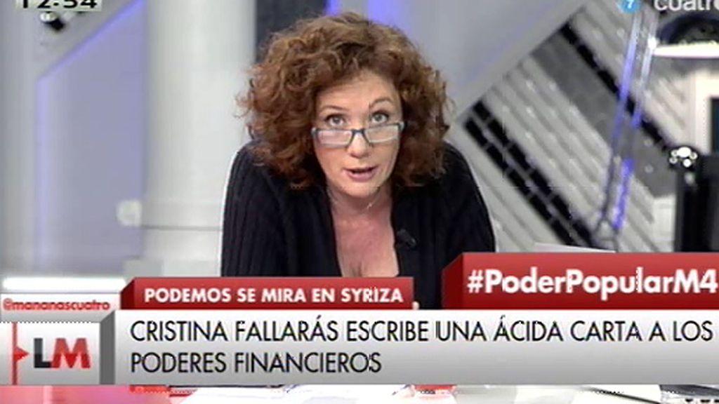 "Cristina Fallarás: ""¡Ay las élites! Cuantas veces se olvidan de que son poquitos"""