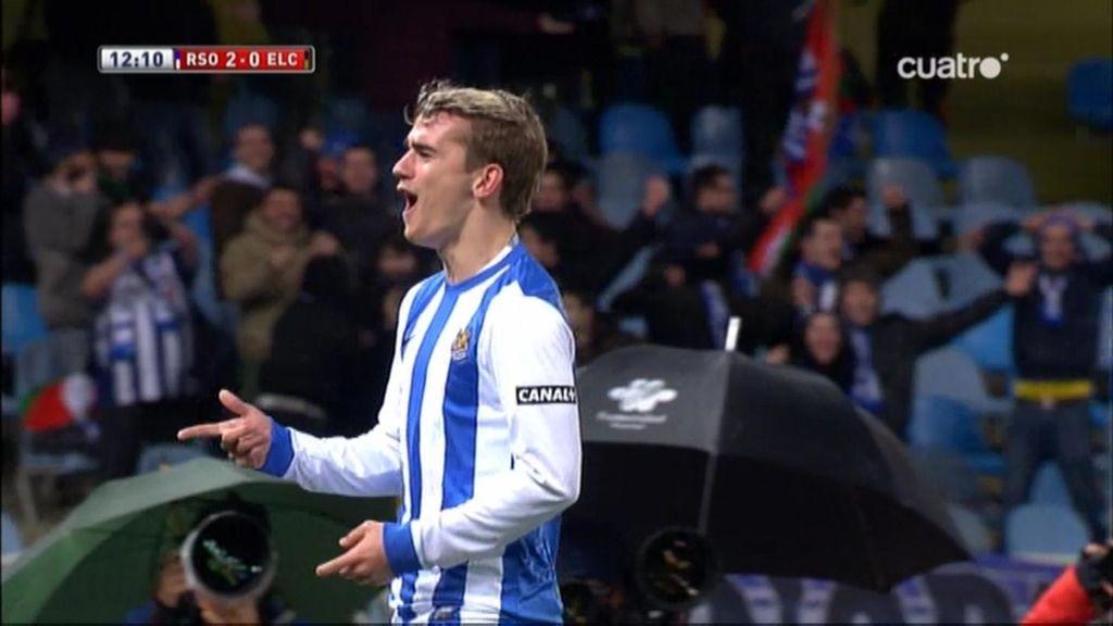 Griezmann, el 'GR7' de San Sebastián, pone en pie a Anoeta con un 'hat-trick'