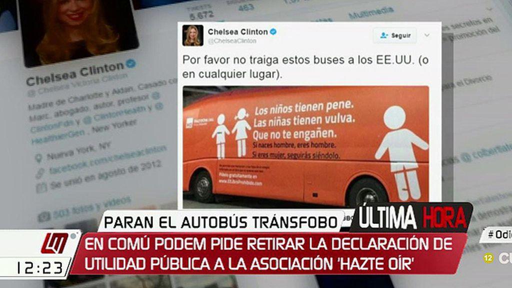 Chelsea Clinton pide que autobuses como los de 'Hazte Oír' no lleguen a EE.UU