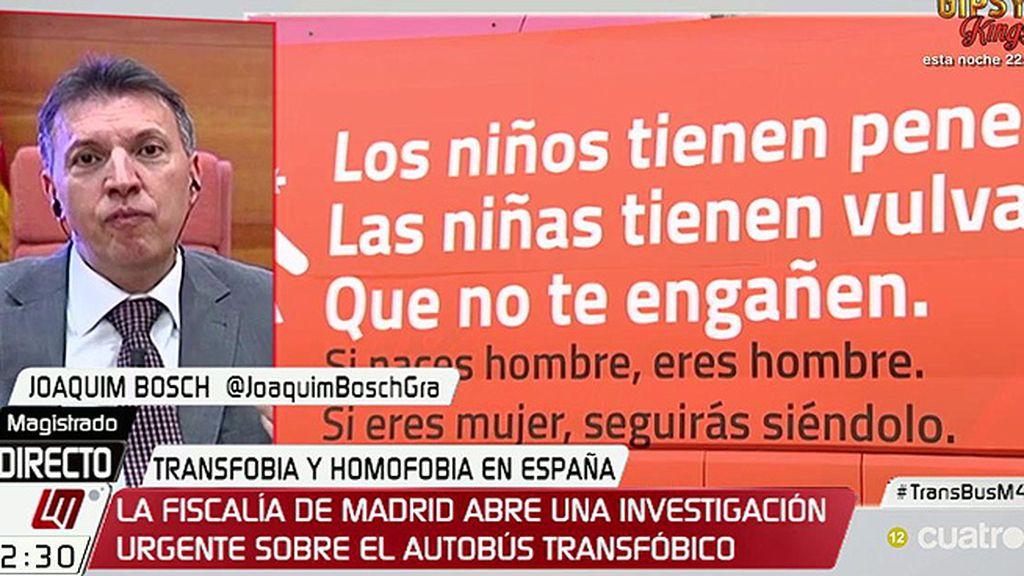 """Bosch: """"El precio de la libertad de expresión es tener que aguantar barbaridades, pero no son necesariamente delictivas"""""""