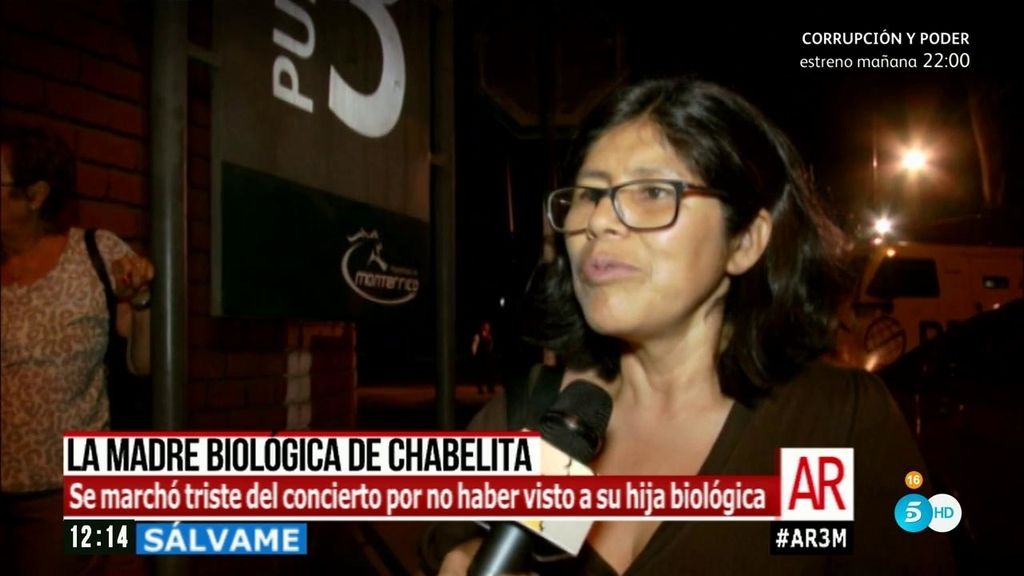 La madre biológica de Chabelita acude al concierto de Isabel Pantoja en Lima