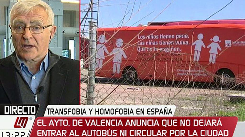 """Joan Ribó, del autobús de 'Hazte Oír': """"Recuerda a tiempos de la inquisición"""""""
