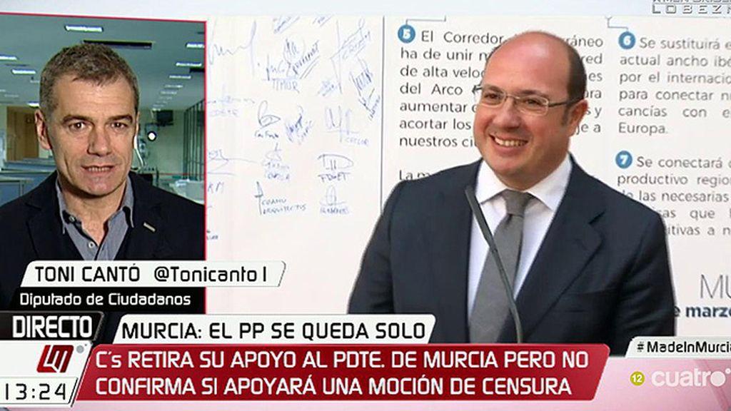 """Toni Cantó: """"Al que hay que hablarle de coherencia es a Pedro A. Sánchez"""""""