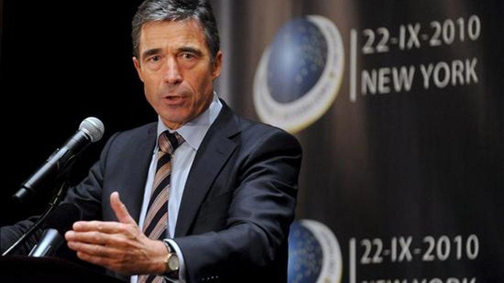 El secretario general de la OTAN, Anders Fogh Rasmussen, atiende la rueda de prensa ofrecida tras la reunión informal de los ministros de Asuntos Exteriores de la OTAN y de Rusia, en Nueva York, EE.UU.. EFE