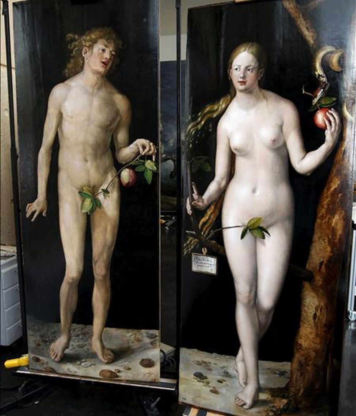 """Las obras """"Adán """" y """"Eva"""" de Alberto Durero están siendo objeto de un laborioso proceso de restauración en el taller del Museo del Prado que la pinacoteca mostró hoy, coincidiendo con el curso """"El Prado oculto. La vida secreta del museo"""" que se celebra esta semana. EFE"""