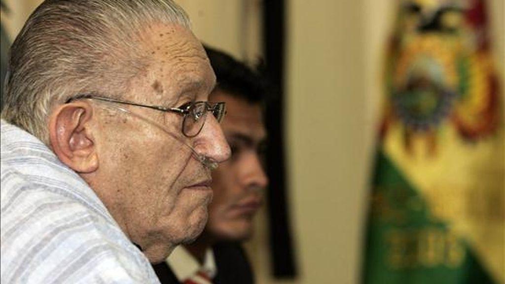 El ex dictador boliviano Luis García Meza (1980-1981), que en 1993 fue condenado en ausencia a más de 200 años de prisión, está preso desde el 15 de marzo de 1995, cuando llegó extraditado desde Brasil. EFE/Archivo
