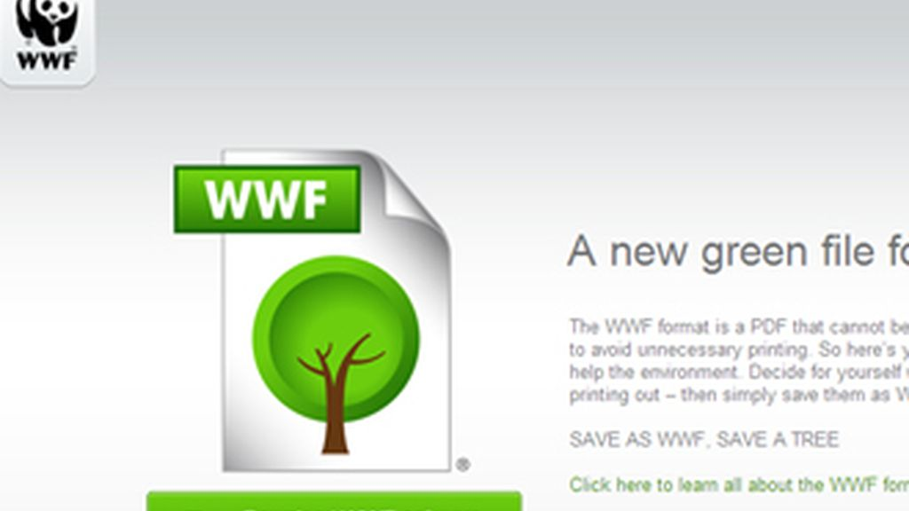 'Salve como WWF, salve un árbol', es el nombre de la iniciativa para promover este nuevo formato ecológico.