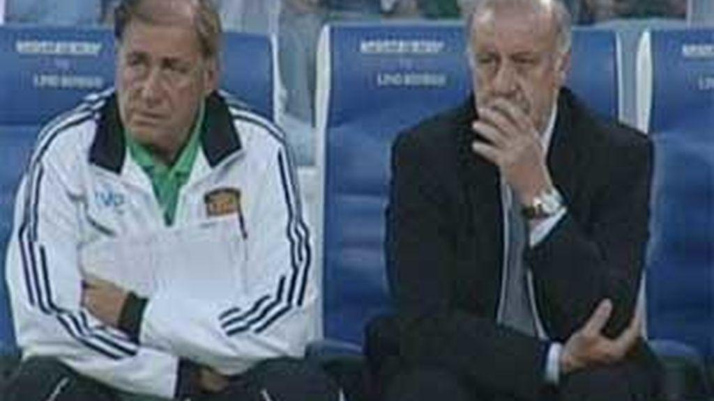Del Bosque, durante el partido ante Azerbaiyán. Foto: Informativos Telecinco