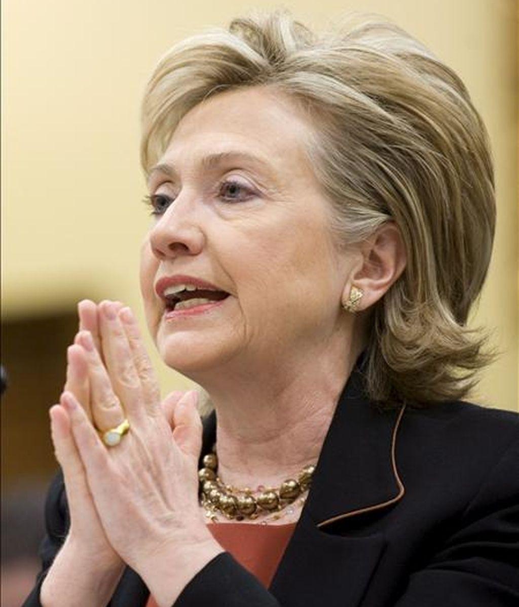 """La secretaria de Estado estadounidense, Hillary Clinton, reiteró que EE.UU. """"no tratará"""" con un gobierno de unidad nacional que incluya a Hamás si el grupo islamista no reconoce al Estado israelí. EFE/Archivo"""