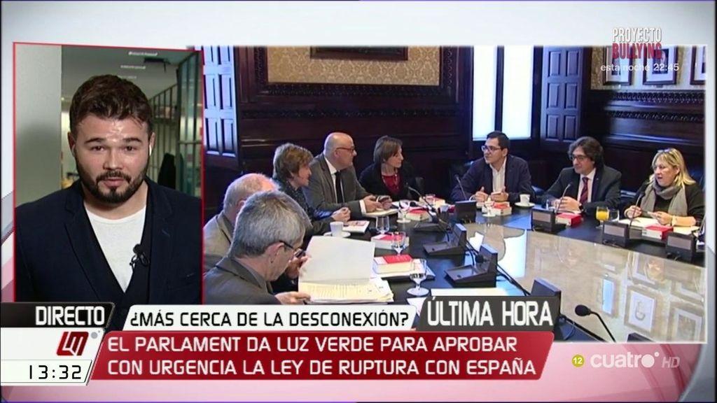 """Rufián, sobre la ley de ruptura con España: """"Está dentro de la normalidad democrática"""""""