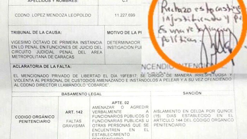 Leopondo López, aislado por protestar en la prisiñón militar de Ramo Verde