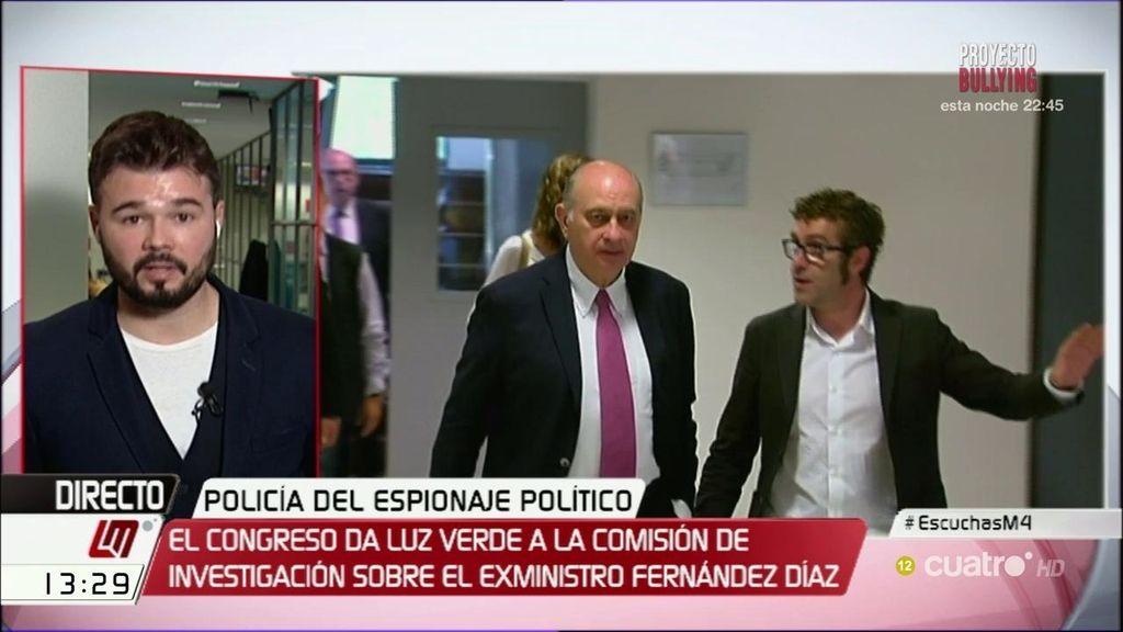"""Rufián, sobre Fernández Díaz: """"Al menos pasará un rato de vergüenza"""""""