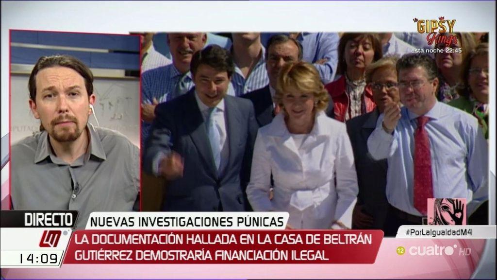 """El mensaje de Iglesias a Aguirre: """"¿De dónde dimitió? Si se fue como portavoz del PP"""""""