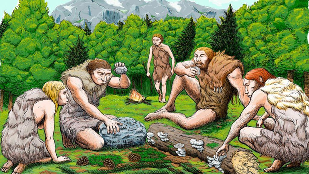 Recreación de la vida de un grupo de neandertales en el Sidrón, Asturias