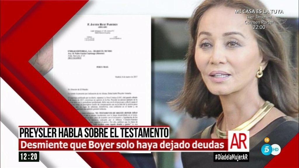 Isabel Preysler desmiente que Miguel Boyer solo haya dejado deudas