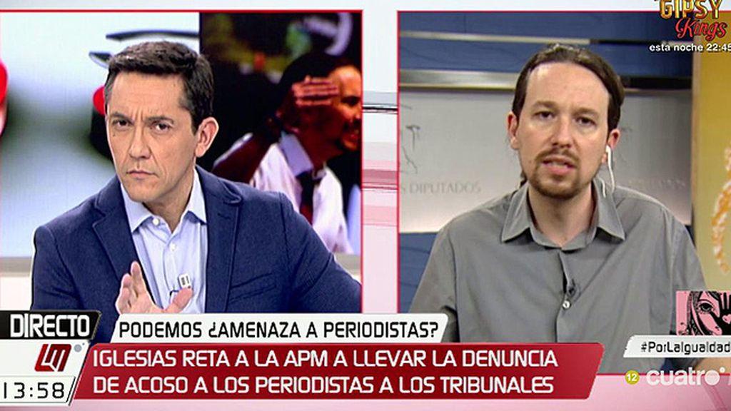 """Pablo Iglesias pone la mano en el fuego por los suyos: """"De Podemos no salieron esos mensajes contra periodistas"""""""