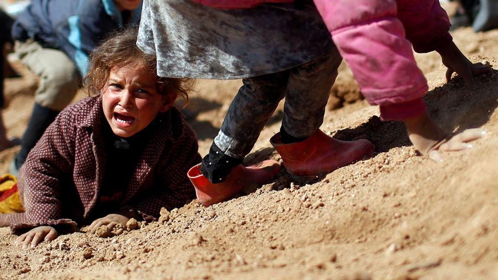 Menores desplazados por la batalla por la toma de Mosul