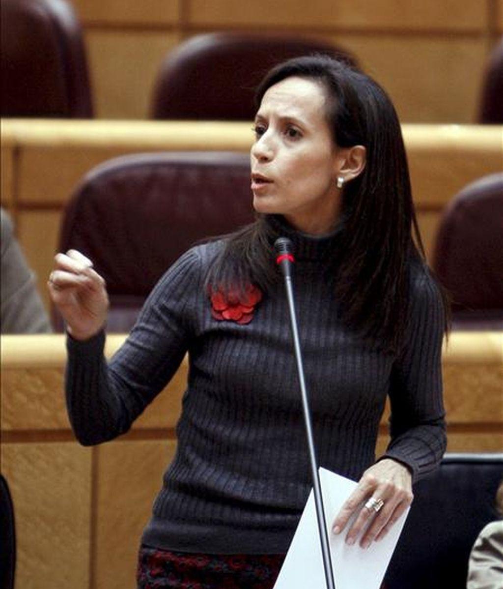 La ministra de Vivienda, Beatriz Corredor, durante su intervención en la sesión de control al Gobierno del pleno del Senado celebrada esta tarde, la primera tras la reciente remodelación ministerial. EFE